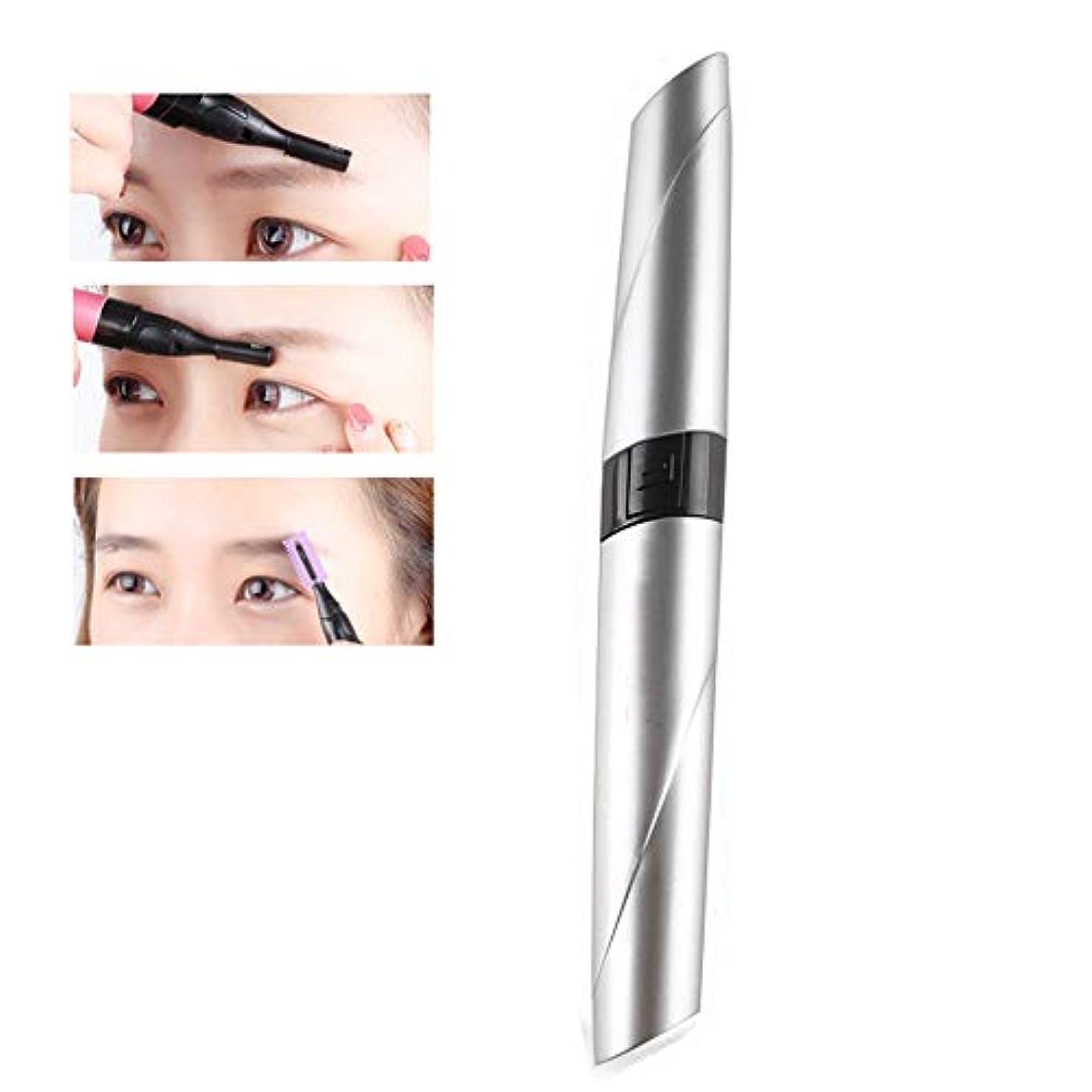 カメ説明するスイッチリップスティックアイブロウトリマー、多機能ポータブル電気女性の顔トリマー(ピンク、レッド、シルバー),銀