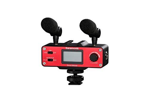 『Saramonic 正規品 スマートミキサー マイクミキサー スマホ用 本格的 レコーディングステレオマイクロフォン 録音 宅録 実況 放送 モバイルビデオ制作用に最適化 赤』のトップ画像