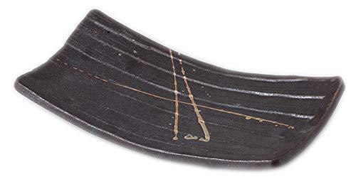 筆流し(黒)足付まな板皿 [ 29 x 16 x 4cm ] 【 ほっけ皿 】 【 料亭 旅館 和食器 飲食店 業務用 】