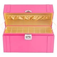 JackCubeDesign MK406 - Leather Nail Polish Storage Box with Handle