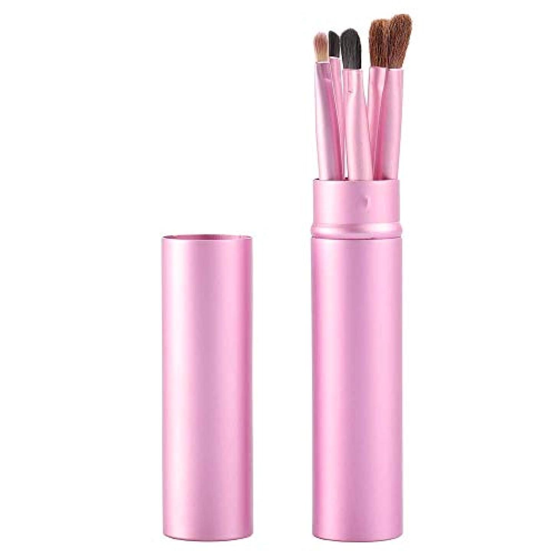 ジャンプアカデミー落ちたMakeup brushes ピンク、アイメイクブラシセットブラシ5アイブラシ化粧ペン美容化粧道具で保護チューブ保護 suits (Color : Pink Blue)