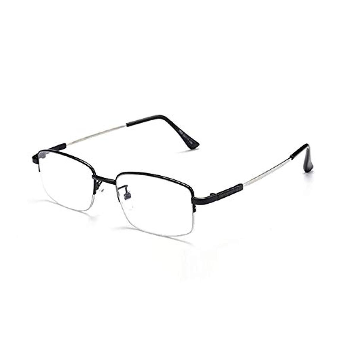 アラームからかう神秘的な老眼鏡1.50男性用および女性用のカードリーダー、ハーフフレームの長方形の金属製スプリングアームブラックリーダー、スマートズーム、アンチブルーライト