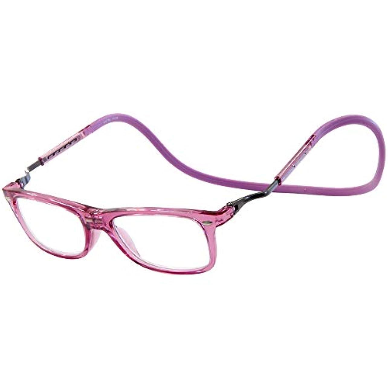 矩形十分学部長老眼鏡 おしゃれ 携帯 折りたたみ コンパクト シニアグラス リーディンググラス eye Need 伸びる 首掛け 首にかけられる マグネット 磁石 落ちない スマート ピンク