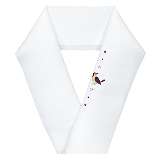 刺繍半衿【Swarovski スワロフスキークリスタル×刺繍半衿 15286】2.茶色小鳥(アメジスト)