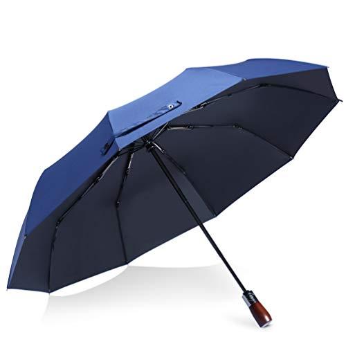 折りたたみ傘 メンズ 傘 ワンタッチ自動開閉 Teflon撥水加工270T 晴雨兼用 UVカット 完全遮光 10本骨 118cm大きい 耐風 (ブルー)