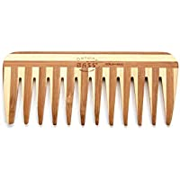 BASS BRUSHES Bamboo Wood Tortoise Comb, Medium, Wide Tooth