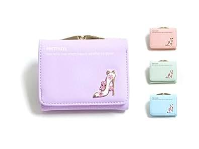 ピンクミニスター ヒール モチーフ 財布 子供 キッズ 女の子 ウォレット 可愛い 長財布 二つ折り がま口 子供用 フェイクレザー 2つ折り(ライトパープル)