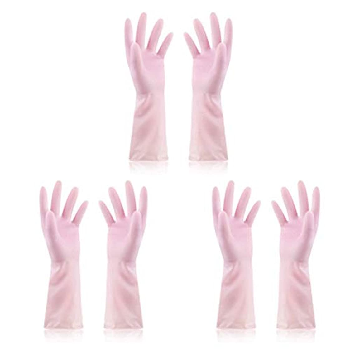 彼女の飼いならす取り消すニトリルゴム手袋 使い捨て手袋防水ラテックス焦げ付き防止ゴム製ゴム製台所手袋、3組 使い捨て手袋 (Color : Pink, Size : M)