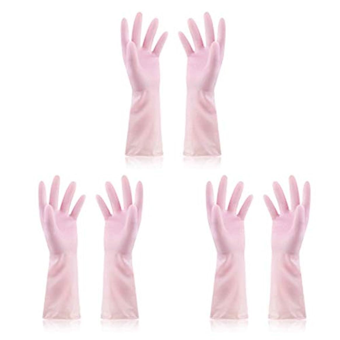 不愉快に保全村ニトリルゴム手袋 使い捨て手袋防水ラテックス焦げ付き防止ゴム製ゴム製台所手袋、3組 使い捨て手袋 (Color : Pink, Size : M)