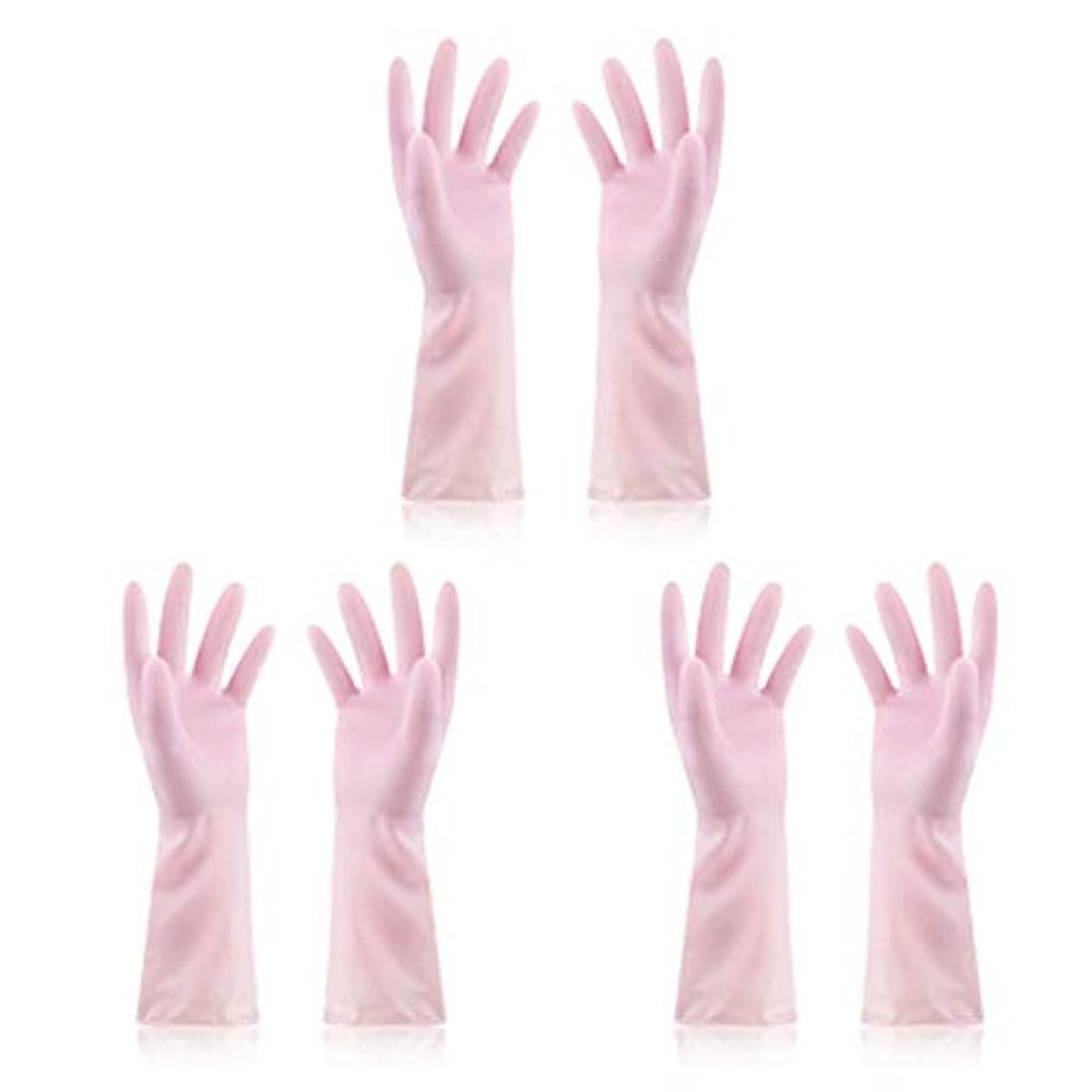深くラテン安全性ニトリルゴム手袋 使い捨て手袋防水ラテックス焦げ付き防止ゴム製ゴム製台所手袋、3組 使い捨て手袋 (Color : Pink, Size : M)