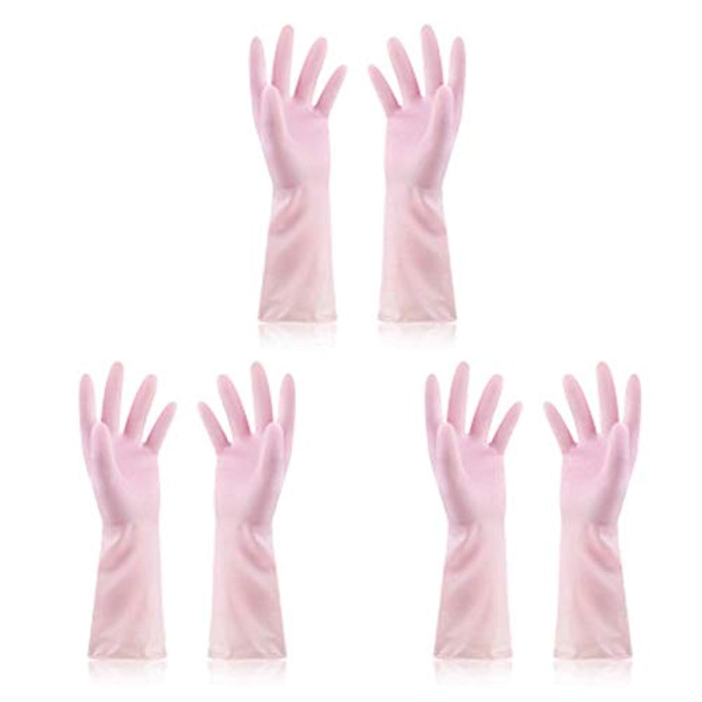 ベンチ棚怠けたニトリルゴム手袋 使い捨て手袋防水ラテックス焦げ付き防止ゴム製ゴム製台所手袋、3組 使い捨て手袋 (Color : Pink, Size : M)