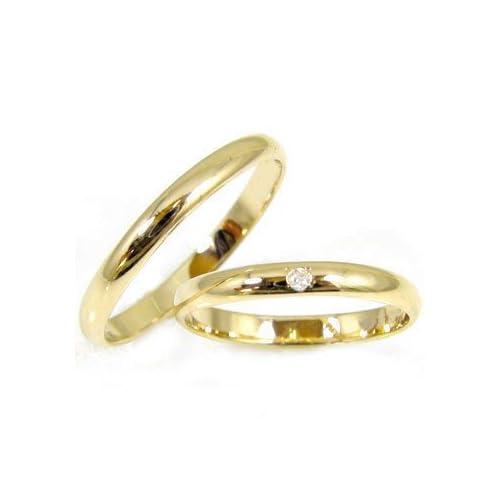 [アトラス] Atrus 結婚指輪 ペアリング リング 指輪 イエローゴールドK18 一粒 ダイヤモンド ダイヤ 4月 誕生石 甲丸
