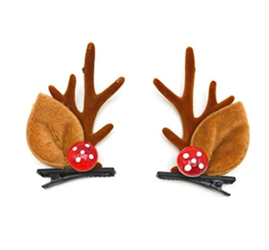 織機かもめ虚偽クリスマス枝角ヘッドジュエリーのヘアピン女性セン女性のヘアアクセサリーは、小さなヘラジカヘッドバンド女性茸の耳白い毛玉ヘアピンヘッドバンド (Style : A)