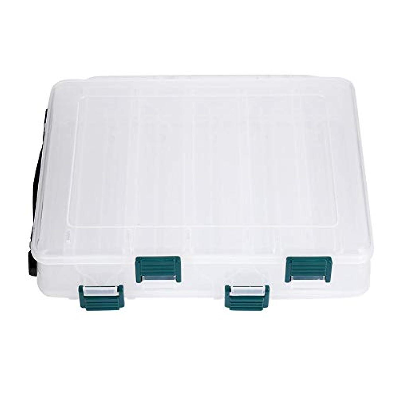 敬礼余剰通知するフィッシングタックルボックス 2層10/14スロット ルアーフックベイト 収納ボックス 釣り アクセサリーボックス ストレージコンテナ ポータブル 大容量