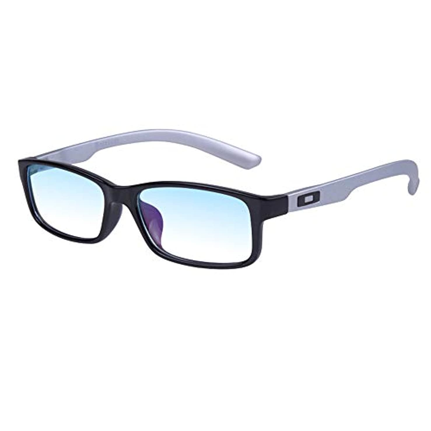 悲鳴動員する砂の長方形アンチブルー老眼鏡、快適でシンプルなコンピューター老眼鏡、男性用Hdメガネ、シルバー、ブラック