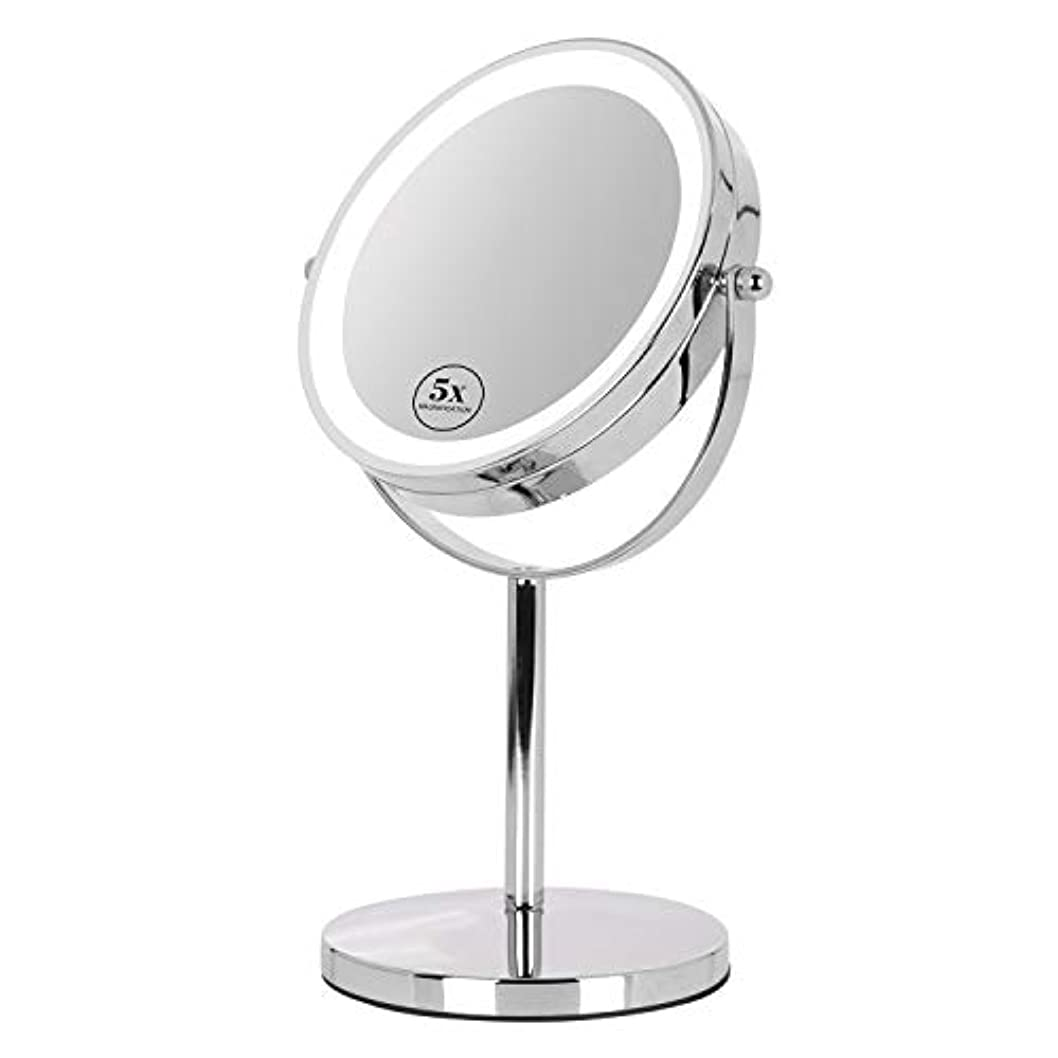 約設定ほぼポーク卓上ミラー 鏡 化粧鏡 LED付き 真実の両面鏡DX 5倍拡大鏡 360度回転 卓上鏡 鏡面Φ165mm