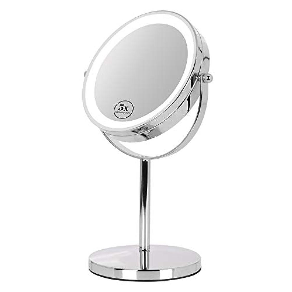 促すマウスピースその卓上ミラー 鏡 化粧鏡 LED付き 真実の両面鏡DX 5倍拡大鏡 360度回転 卓上鏡 鏡面Φ165mm