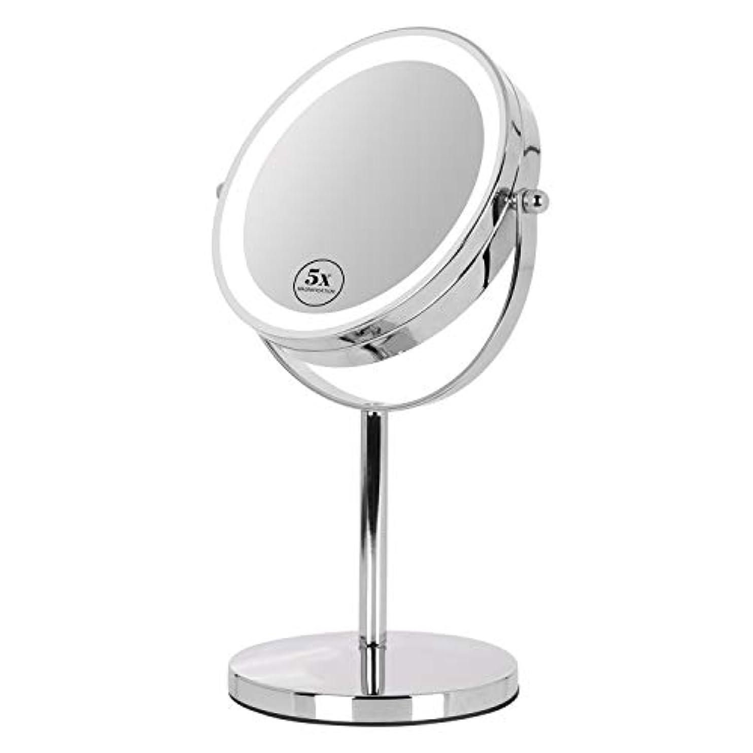 きつくインテリア欠席卓上ミラー 鏡 化粧鏡 LED付き 真実の両面鏡DX 5倍拡大鏡 360度回転 卓上鏡 鏡面Φ165mm