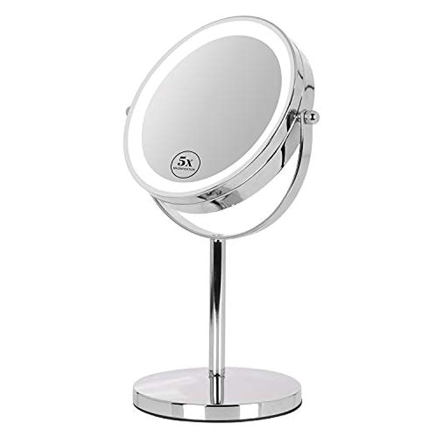 インタネットを見るツインジャグリング卓上ミラー 鏡 化粧鏡 LED付き 真実の両面鏡DX 5倍拡大鏡 360度回転 卓上鏡 鏡面Φ165mm