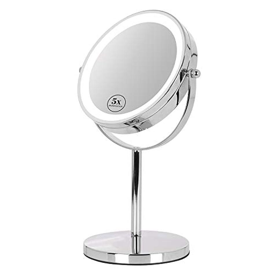 ひねりドラフトメール卓上ミラー 鏡 化粧鏡 LED付き 真実の両面鏡DX 5倍拡大鏡 360度回転 卓上鏡 鏡面Φ165mm