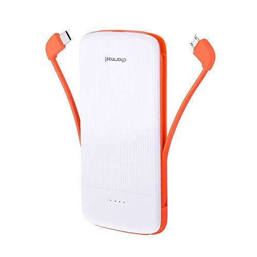 Charmast [アップグレード] 10000mAh モバイルバッテリー 大容量 出力ポート*3(5V-2A) 入力ポート*2(5V-2A) ケーブル内蔵 軽量 薄型 iPhone Android 等対応【PSE認証済み】 (ホワイト)