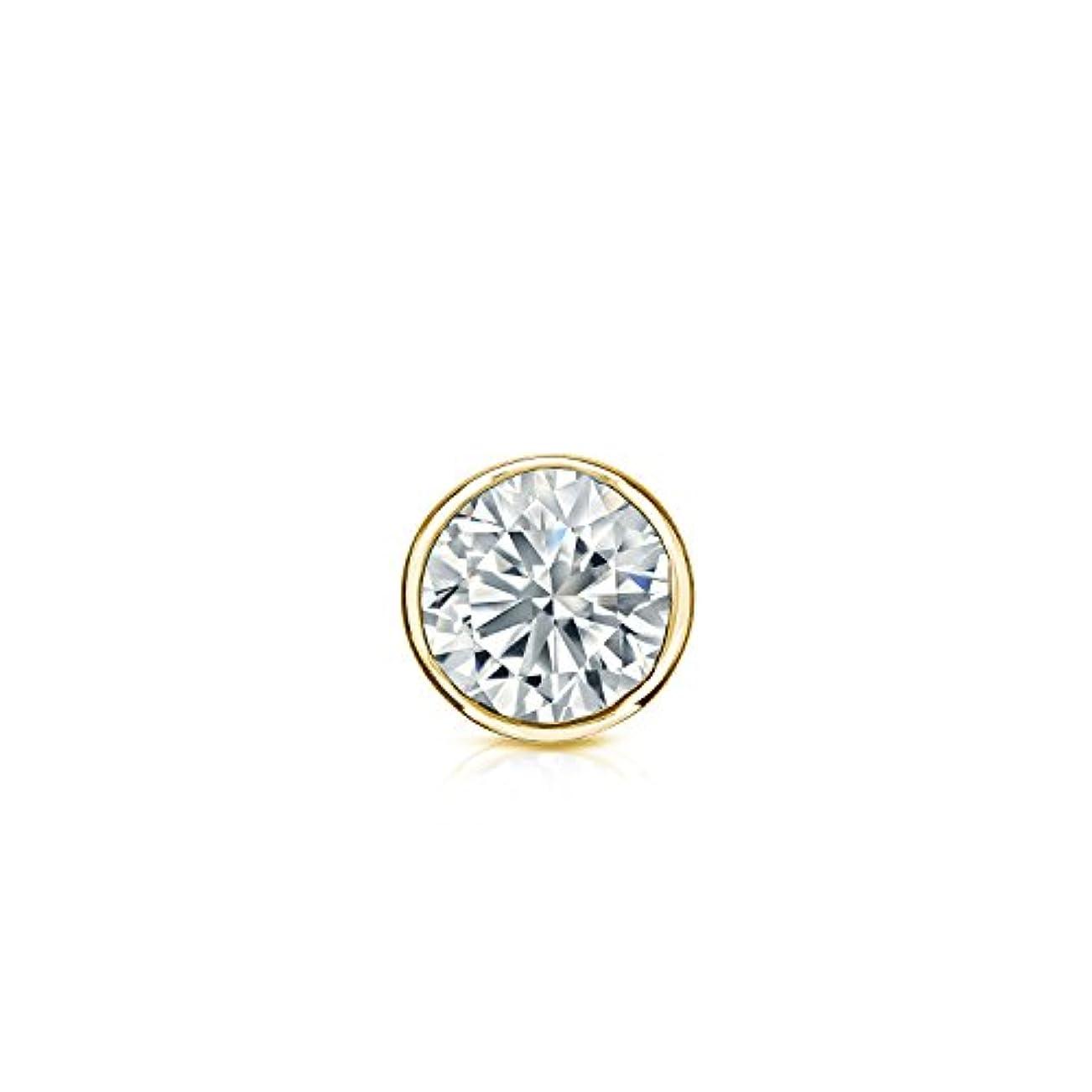 離す失礼な理想的14 Kイエローゴールドbezel-setラウンドダイヤモンドシングルスタッドイヤリング( 1 / 8 – 1 CT、ホワイト、vs2-si1 ) screw-back