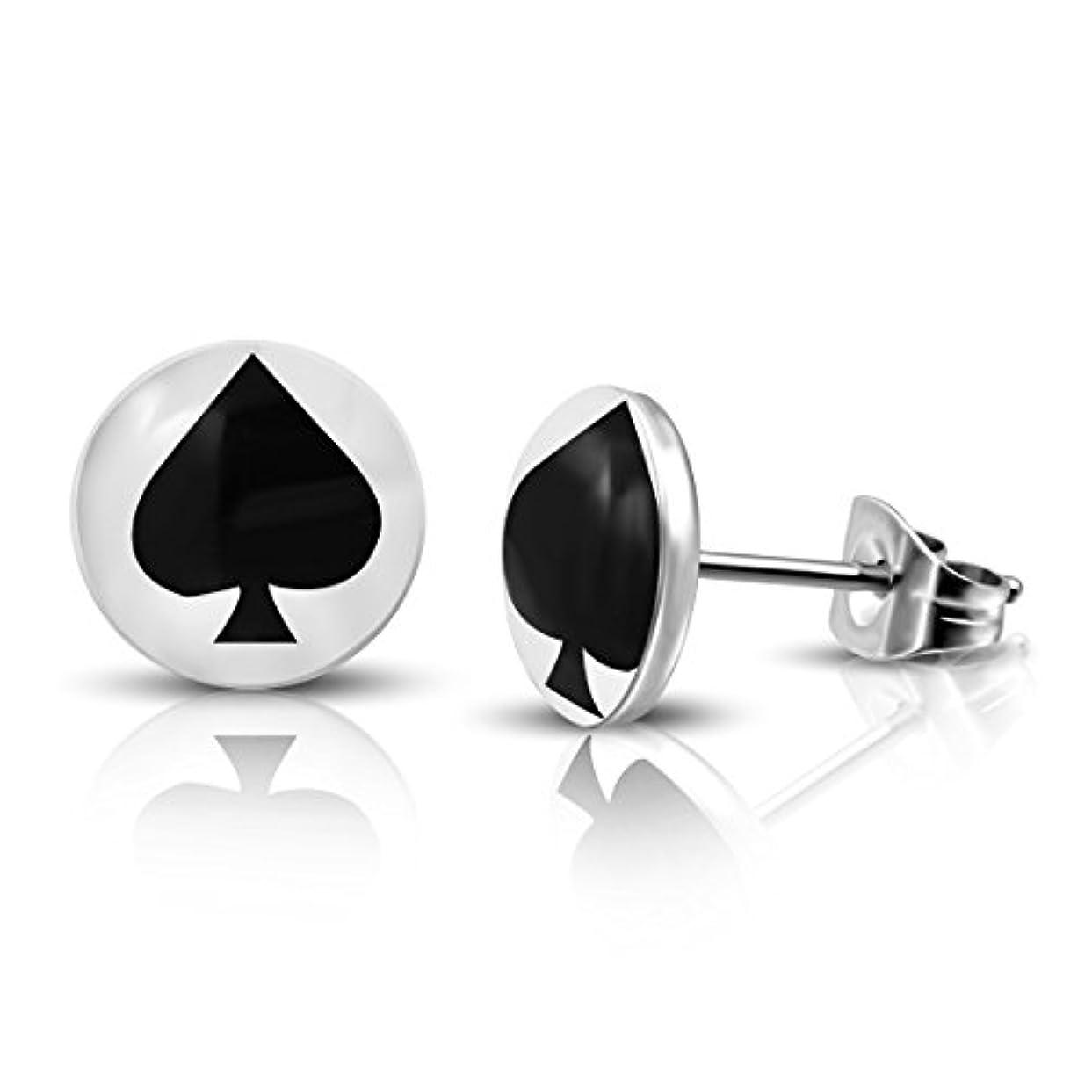 ラビリンスハーフオフステンレススチール3-tone Ace of Spades円スタッドイヤリング(ペア)
