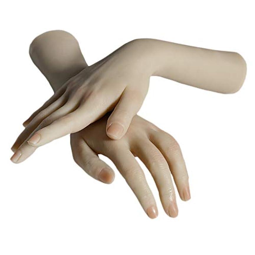 コマンド展開する支援するPerfeclan ネイルアート マネキンハンド 手表示モデル 手模型 練習 実践手 シリコン