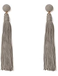 Grey Gold Tone Wrap Tassel Statement Earrings