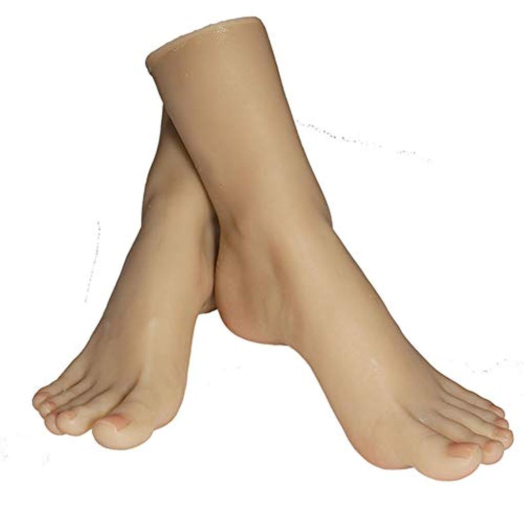最愛の習熟度不変1ペアのLifeSizeシリコーン女性のマネキンフットディスプレイJewerlyサンダル靴ソックス表示アートスケッチ