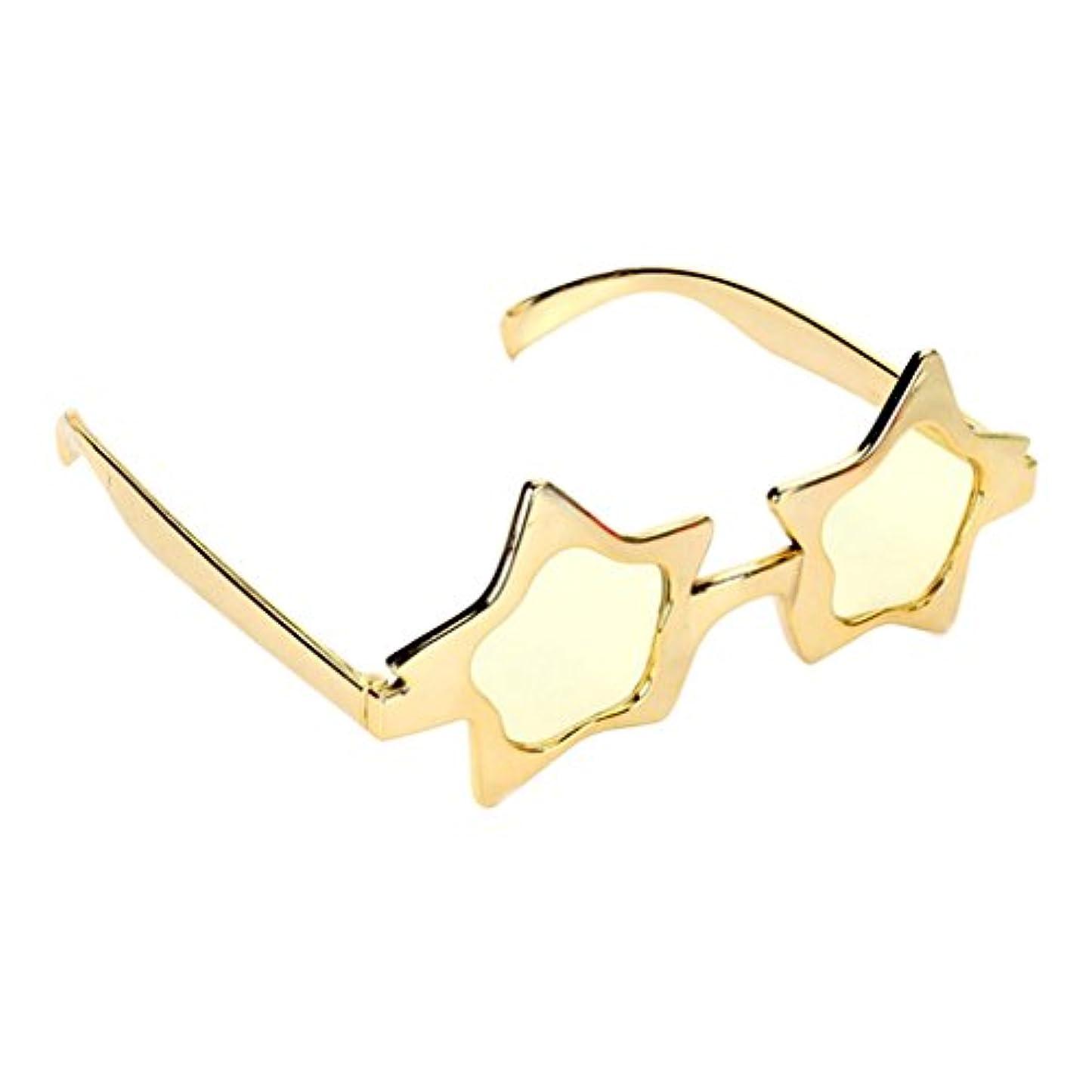 防ぐウェイター祭りPrettyia キラキラ 眼鏡 メガネ 星の目 ゴールド 装飾 衣装
