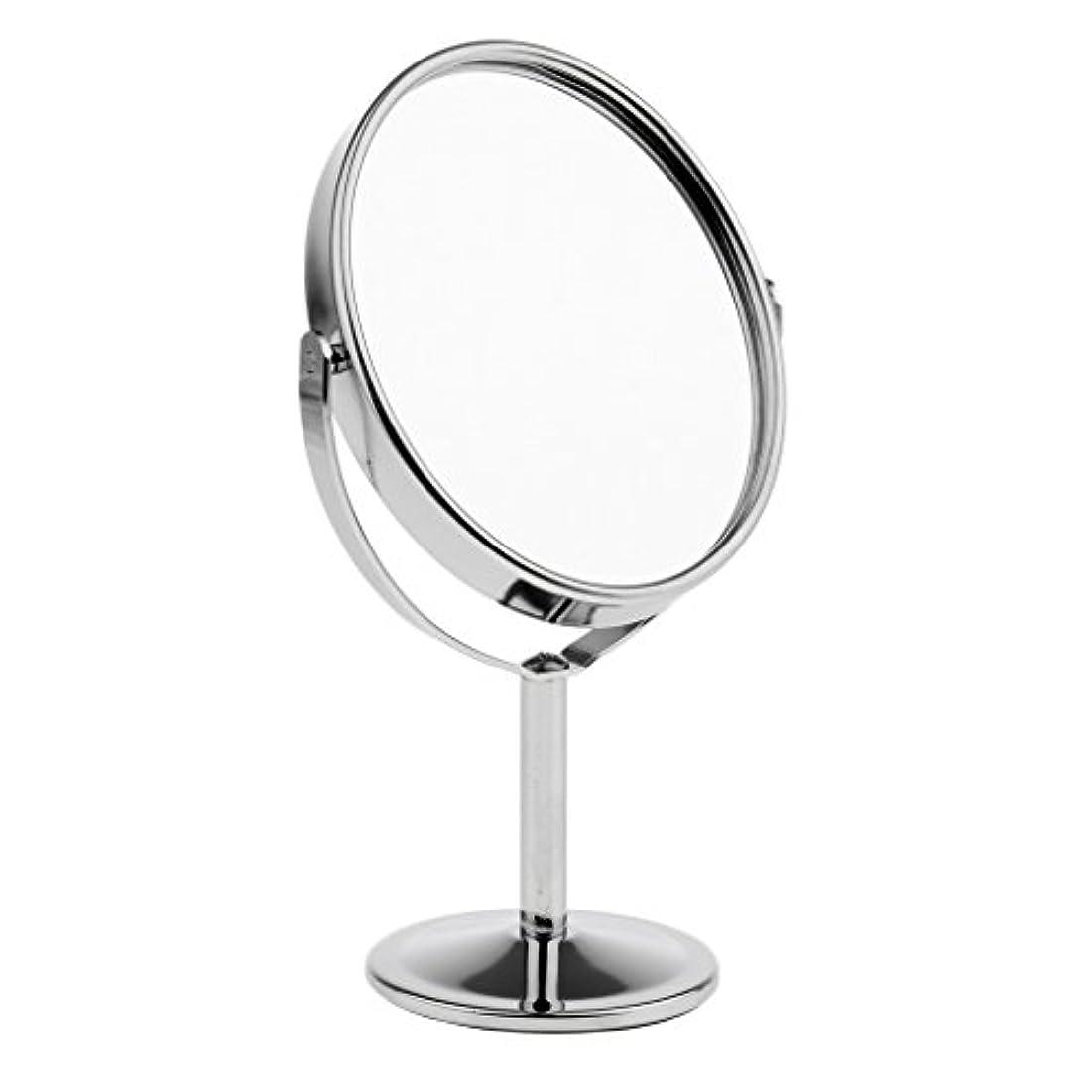 第四カードシートFutuHome ミニレディーガール美容メイクアップ卓上ミラー化粧品デュアルサイドノーマル+拡大鏡スタンドミラー6インチ高さ - 銀