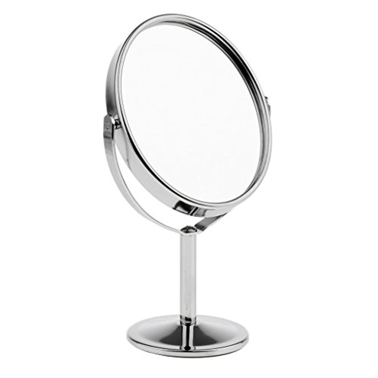 ベスト回転させるカーテンFutuHome ミニレディーガール美容メイクアップ卓上ミラー化粧品デュアルサイドノーマル+拡大鏡スタンドミラー6インチ高さ - 銀