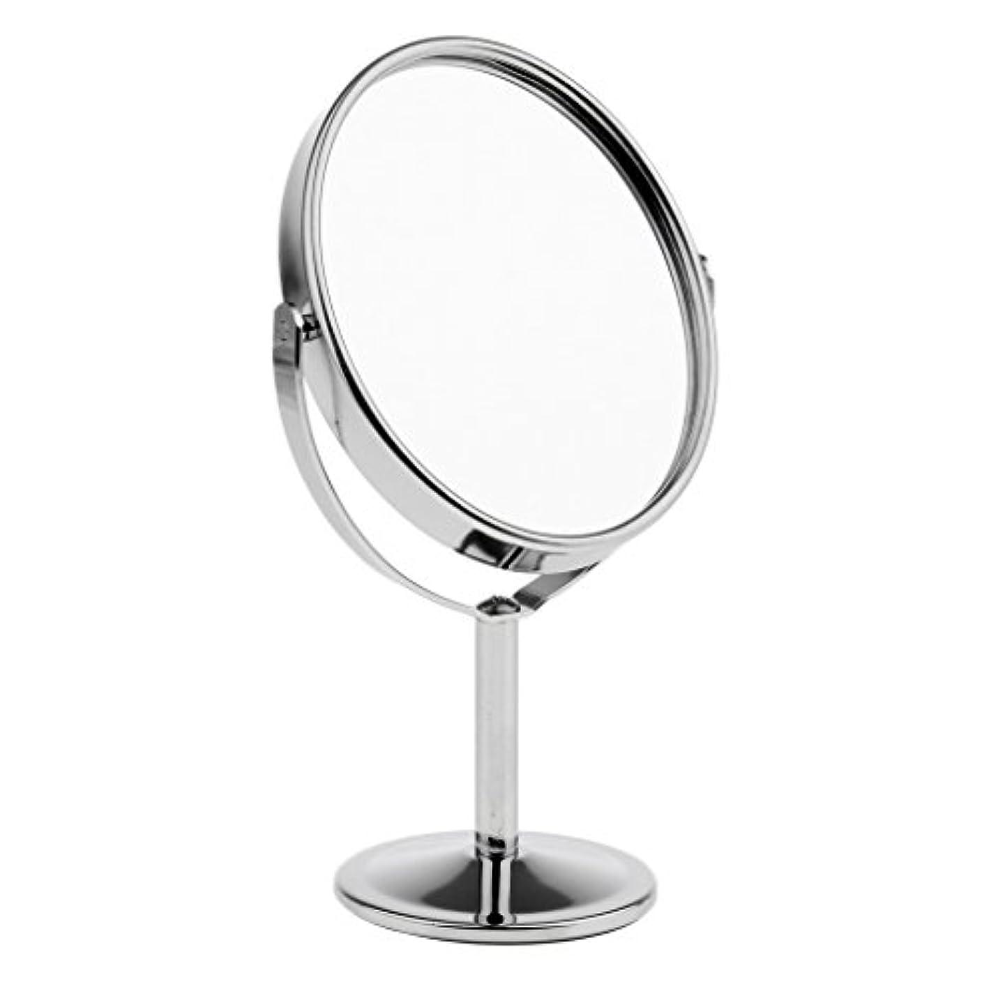 二度効率的に基礎理論FutuHome ミニレディーガール美容メイクアップ卓上ミラー化粧品デュアルサイドノーマル+拡大鏡スタンドミラー6インチ高さ - 銀