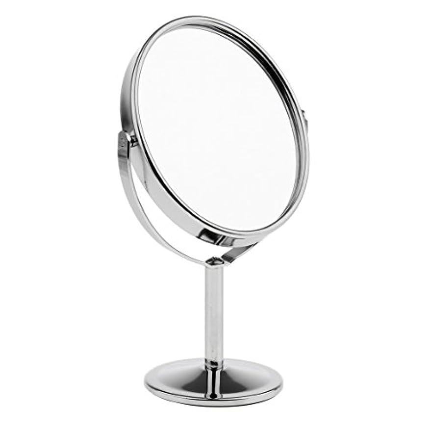 ソロ展開する送料FutuHome ミニレディーガール美容メイクアップ卓上ミラー化粧品デュアルサイドノーマル+拡大鏡スタンドミラー6インチ高さ - 銀