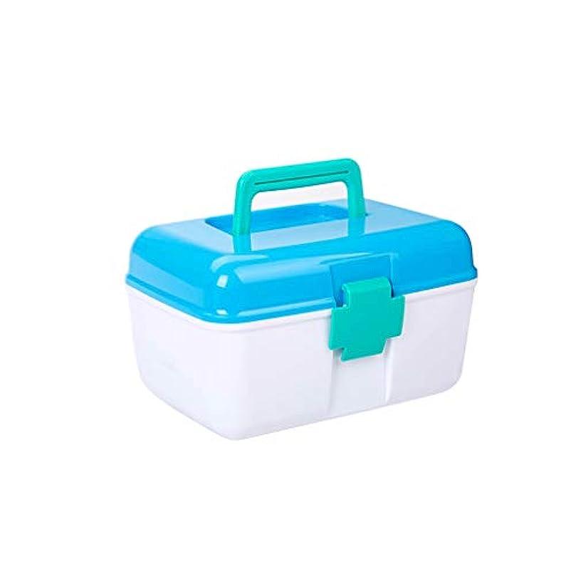 先史時代の賛美歌ネコ家庭用薬箱プラスチック二層医療箱小さな携帯用救急薬収納ボックス CQQO (Color : Blue)