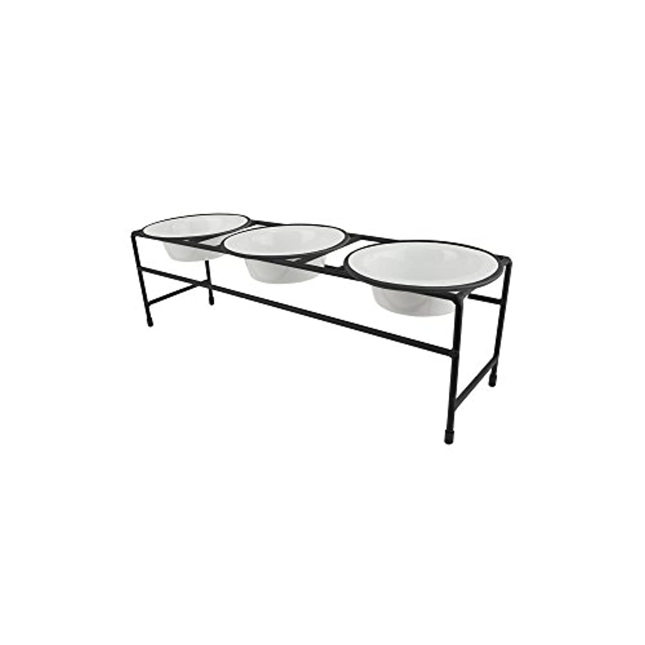 Platinum Pets Triple Modern Diner Stand with 1 Cup Stainless Steel Pet Bowls in Pearl White by Platinum Pets
