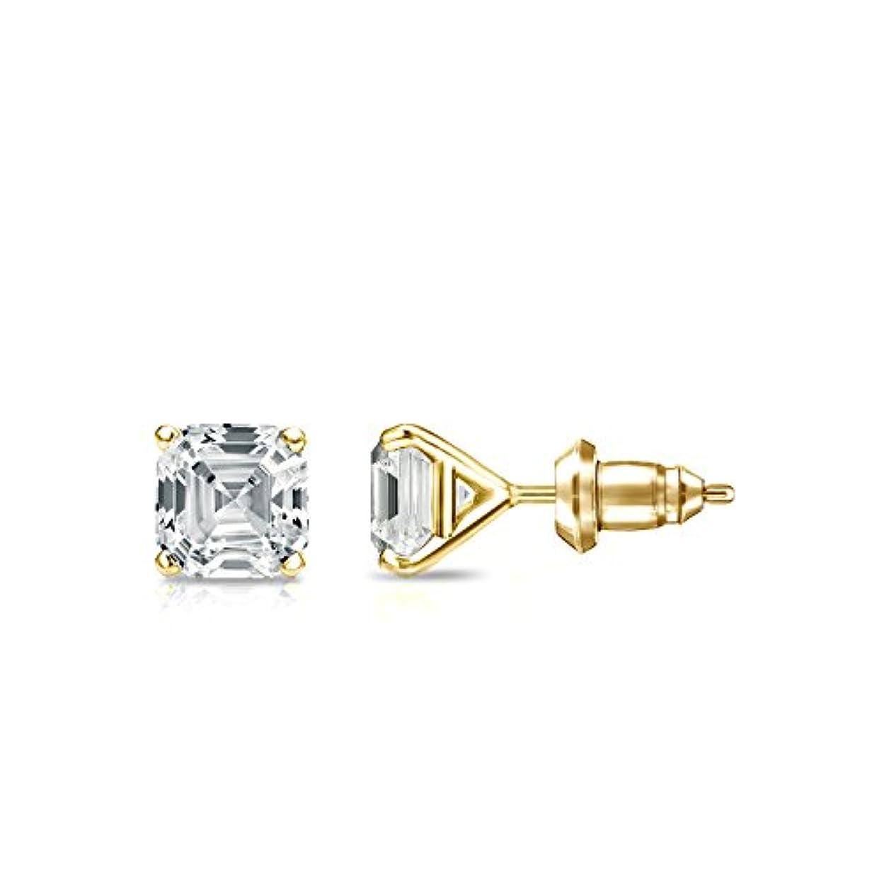 ヘッジメトロポリタンサンダー14 Kゴールド4プロングMartini Asscherダイヤモンドメンズスタッドイヤリング( 1 / 2 – 2 ct、ホワイト、si2安全ロックバック