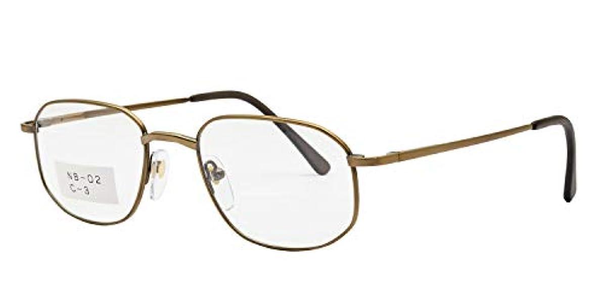 鯖江ワークス(SABAE WORKS) 老眼鏡 スクエア バネ蝶番 ブラウン NB02C1 +2.50
