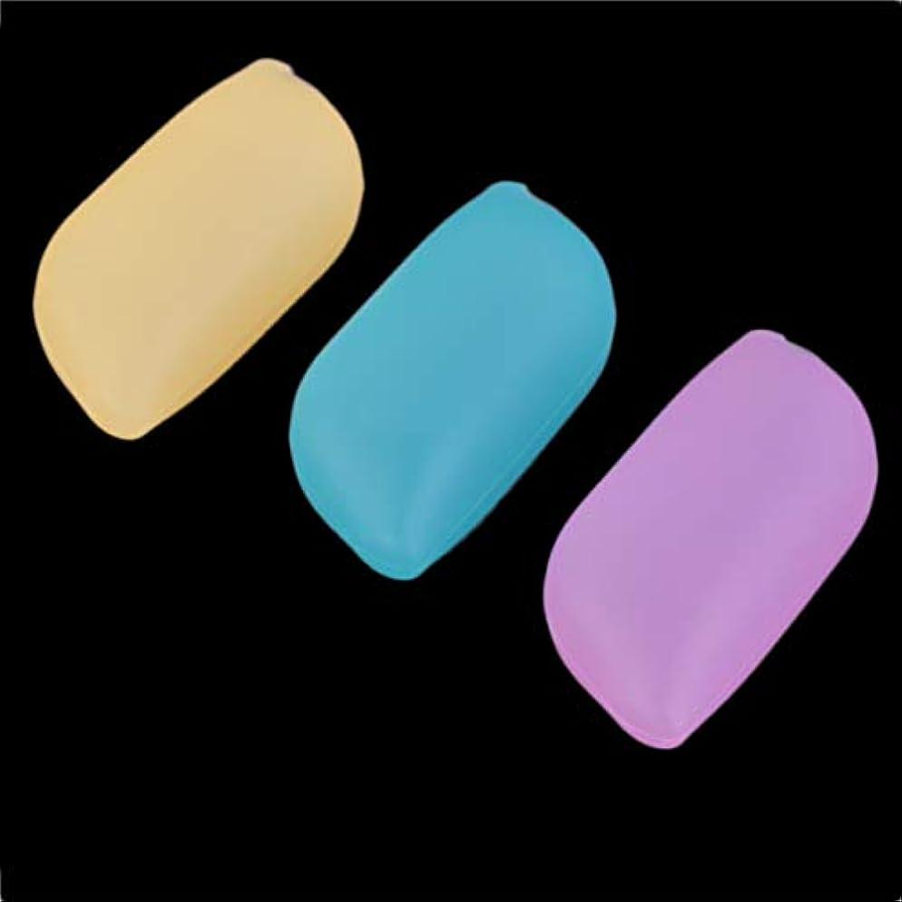 留め金懲らしめポータブル軽量3ピースシリコンソフトトラベルキャンプ開催歯ブラシヘッドケースカバー保護キャップきれいに保つ - 多色