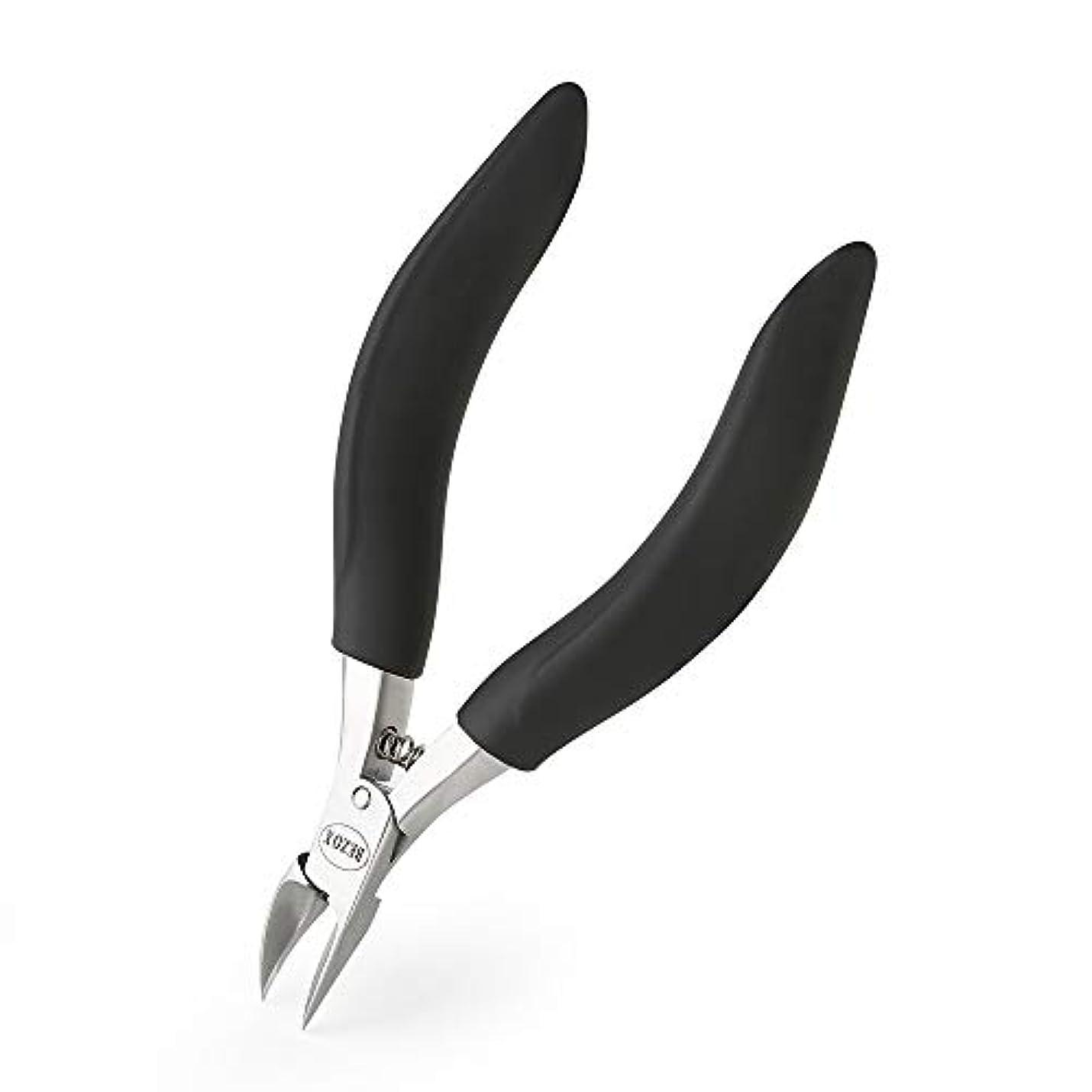 BEZOX 爪切り- 厚い爪や陥入爪用の足爪用 - 持ち手部分が長く、丈夫な爪切り- 医療用ステンレススチール使用 – 金属製専用保管ケース付き (ブラック)