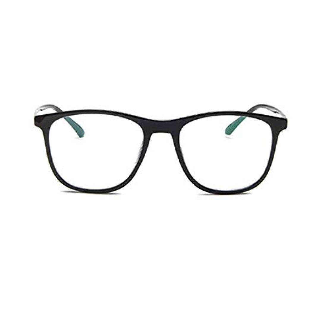 戻す教育学ハプニング韓国の学生のプレーンメガネの男性と女性のファッションメガネフレーム近視メガネフレームファッショナブルなシンプルなメガネ-ブライトブラック