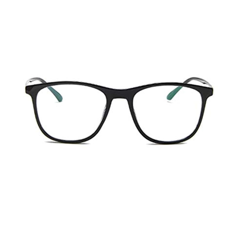輸血冗談で上へ韓国の学生のプレーンメガネの男性と女性のファッションメガネフレーム近視メガネフレームファッショナブルなシンプルなメガネ-ブライトブラック