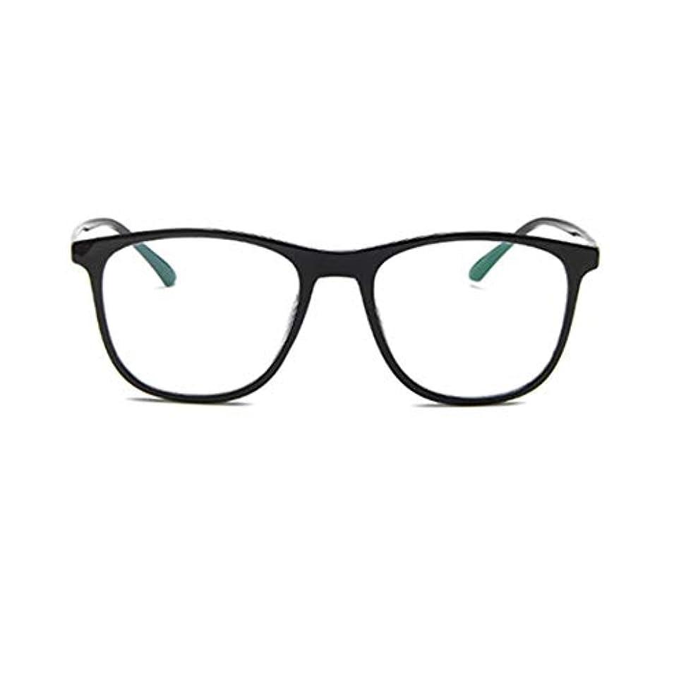 探す根絶するクリエイティブ韓国の学生のプレーンメガネの男性と女性のファッションメガネフレーム近視メガネフレームファッショナブルなシンプルなメガネ-ブライトブラック