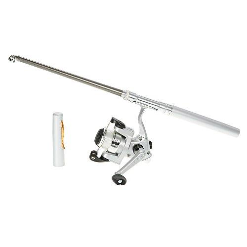 Lixada ミニ アルミ製 携帯時はペン型約20cmが、伸ばすと約 96.2cmのつり竿に『ペン型携帯釣竿 コンパクトロッド(リール付き)』