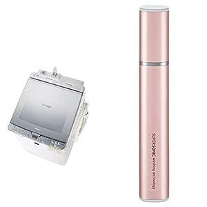 シャープ SHARP タテ型洗濯乾燥機 ガラストップ ダイヤカット穴なし槽 シルバー系 ES-PX8C-S 超音波ウォッシャー ピンク系 セット