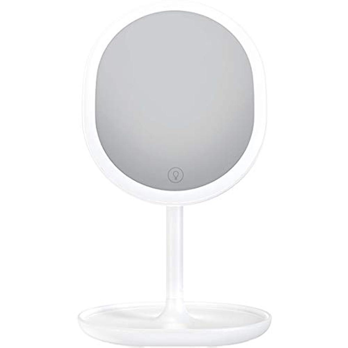 静けさ日記ピクニック化粧鏡 LED卓上化粧鏡 充電式 led付き 5倍拡大鏡付き 明るさ調節可能 等倍鏡 5倍拡大鏡 メイクミラー 180度回転式 1個入り (ホワイト)