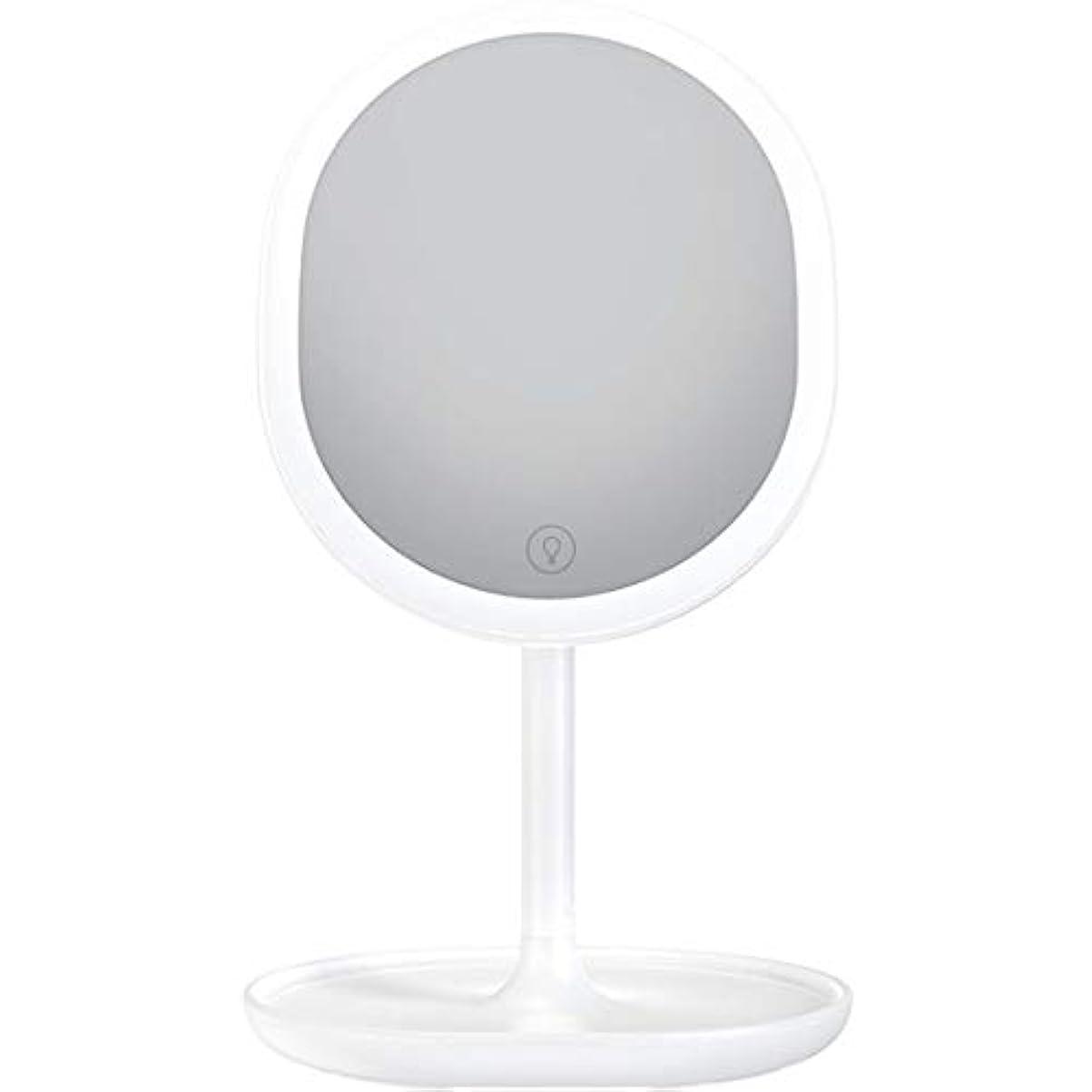 杖仲介者腸化粧鏡 LED卓上化粧鏡 充電式 led付き 5倍拡大鏡付き 明るさ調節可能 等倍鏡 5倍拡大鏡 メイクミラー 180度回転式 1個入り (ホワイト)