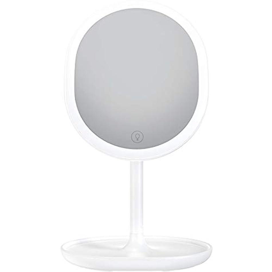 引き受けるラフボア化粧鏡 LED卓上化粧鏡 充電式 led付き 5倍拡大鏡付き 明るさ調節可能 等倍鏡 5倍拡大鏡 メイクミラー 180度回転式 1個入り (ホワイト)