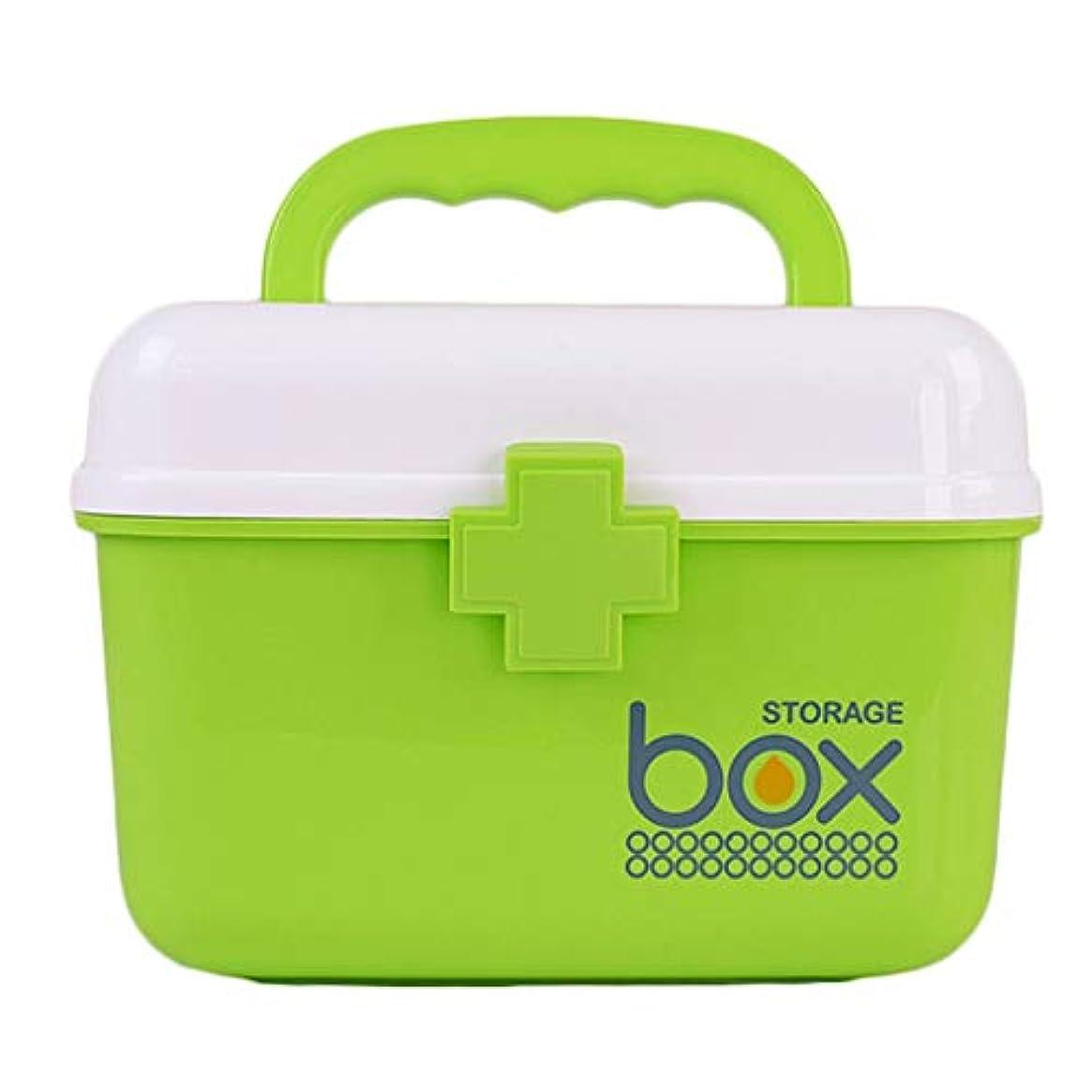 材料基礎理論累計ピルボックスPP家庭用薬ボックス薬収納ボックス (色 : 緑, サイズ さいず : L21cm)